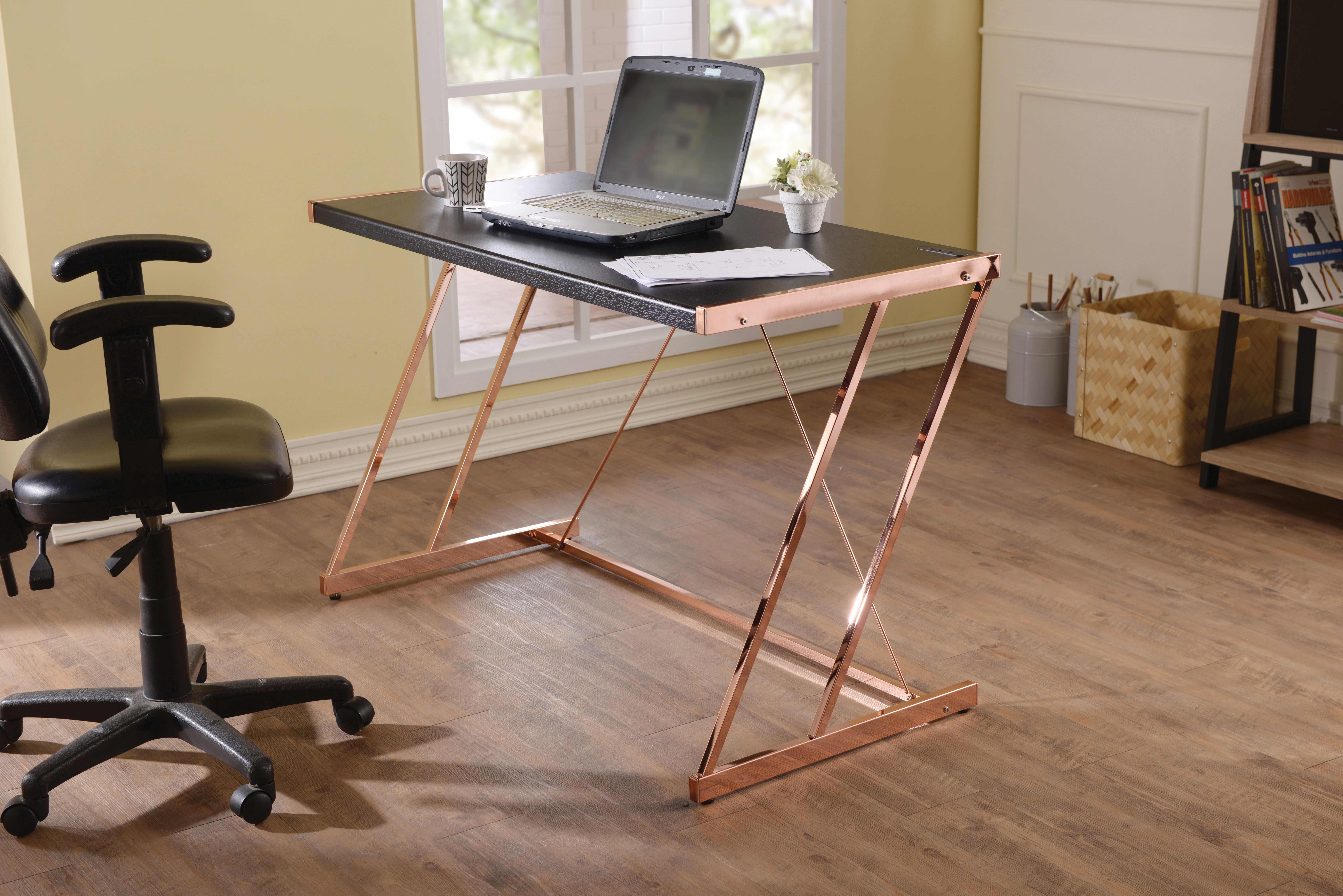 Metal Rectangular Writing Desk With Usb Dock , Black & Copper