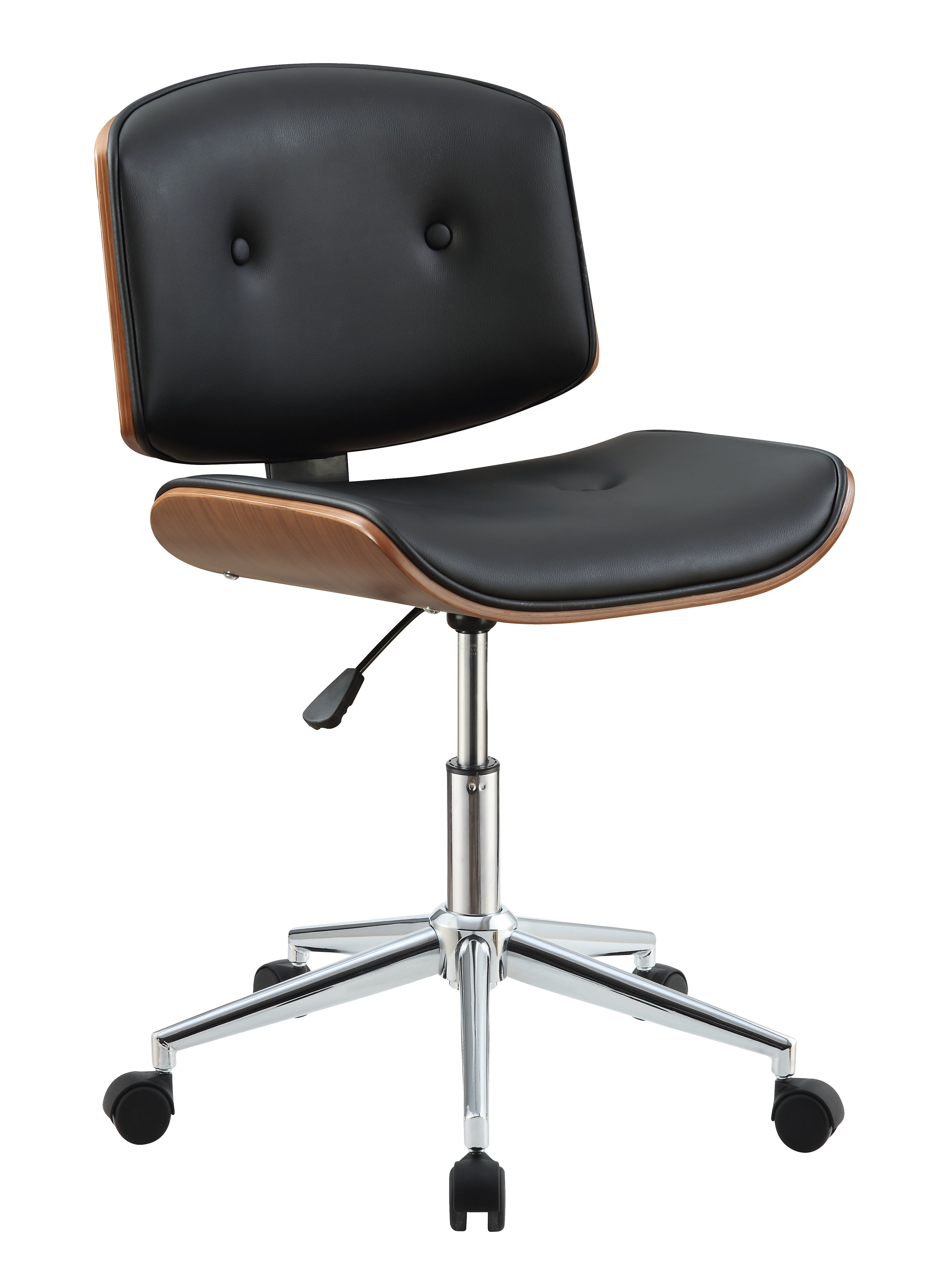 Metal & Wooden Office Armless Chair, Black & Walnut Brown