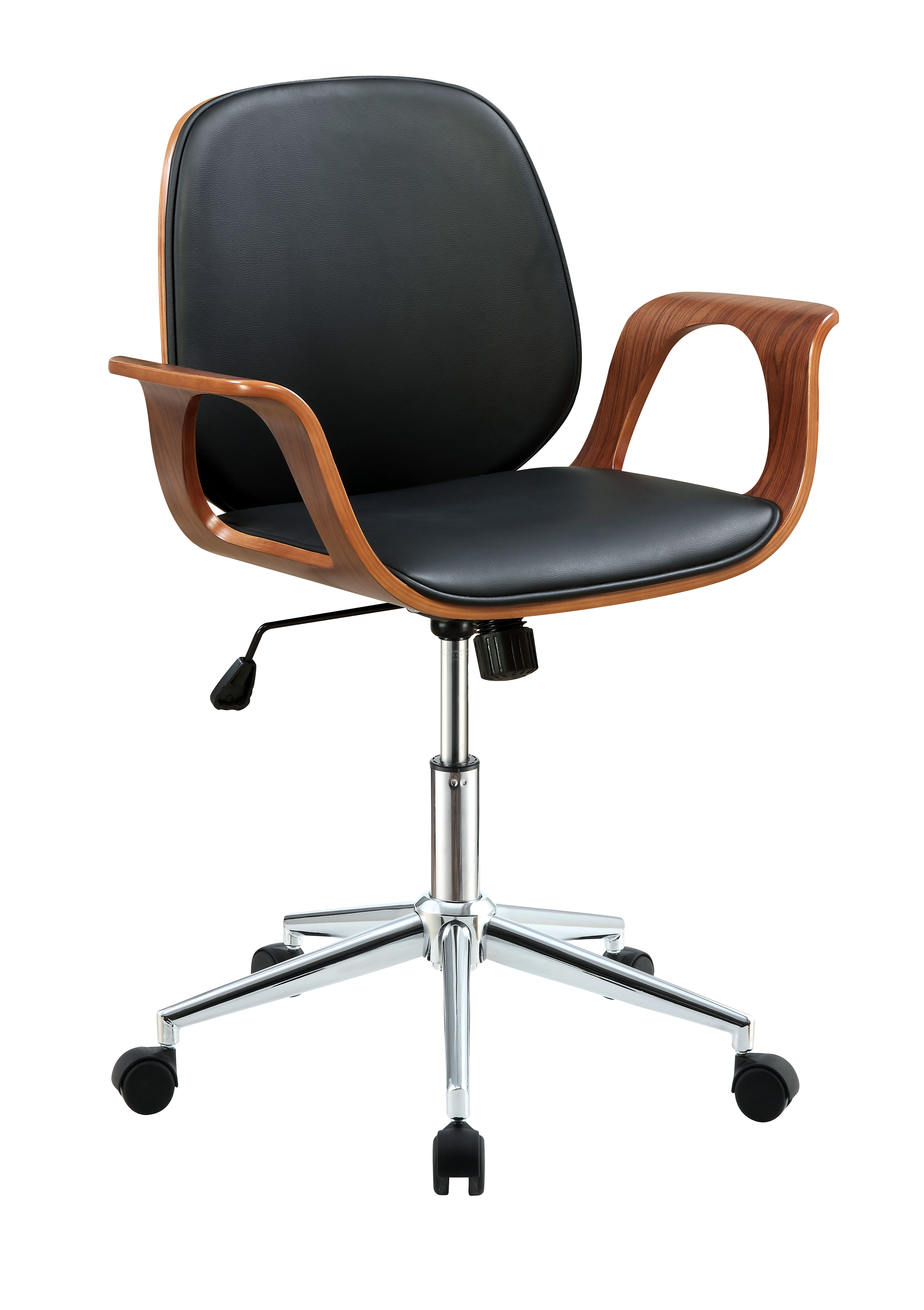 Metal & Wooden Office Arm Chair, Black & Walnut Brown