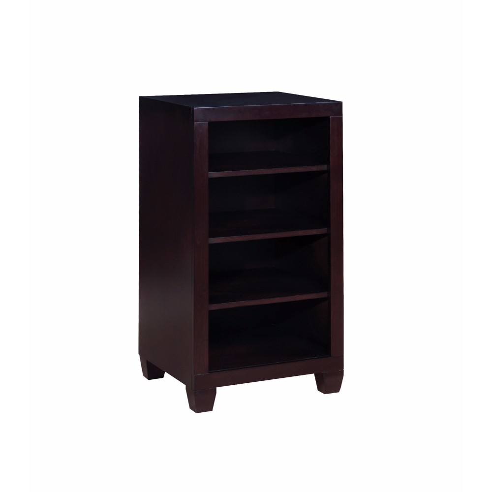 Wooden 4 Tier Bookcase, Cappuccino Brown
