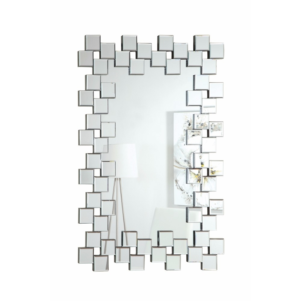 Elegantly Charmed Frameless Accent Mirror, Silver 5a4e008ee22461578c00c685