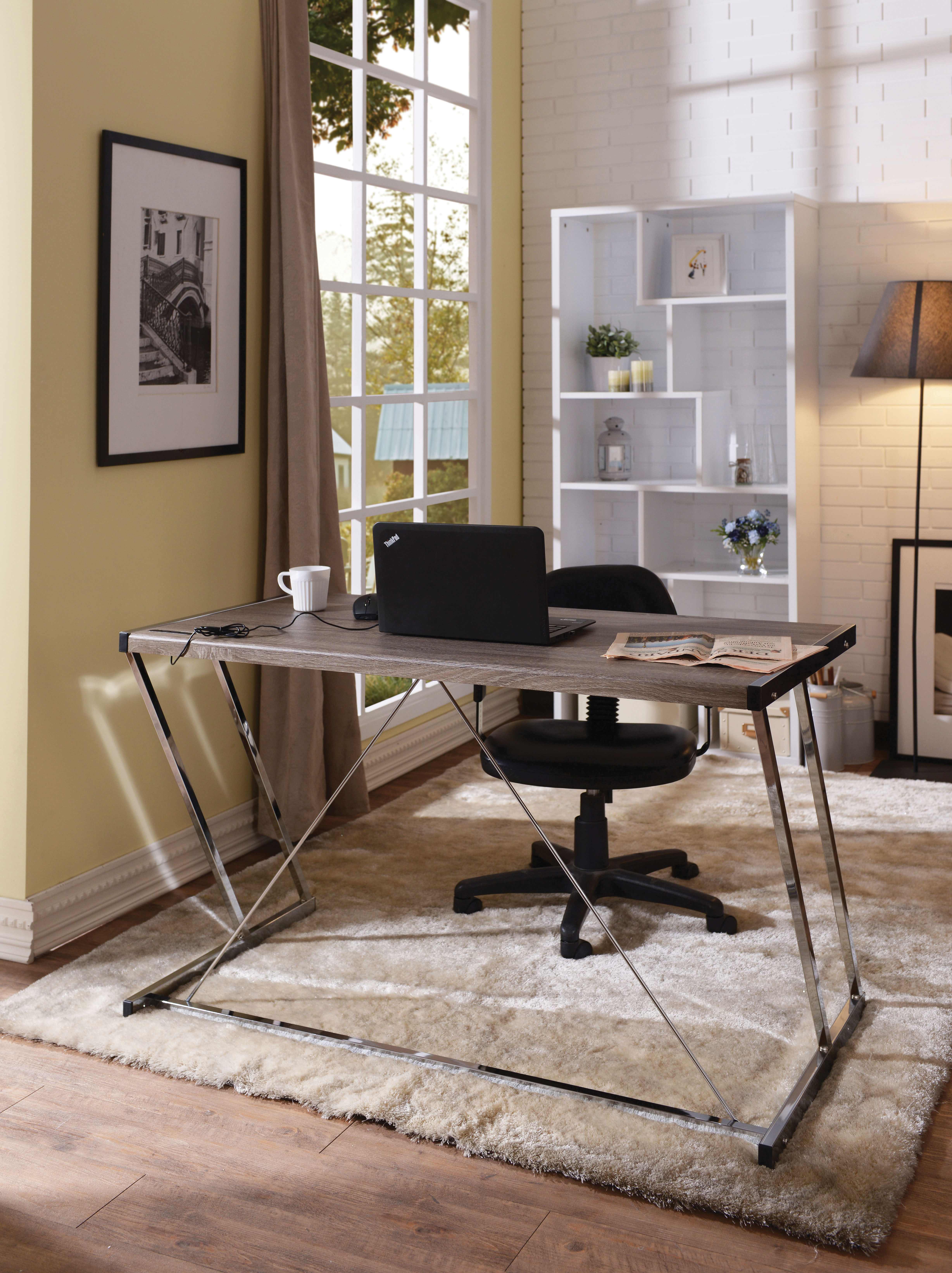 Metal Rectangular Writing Desk With Usb Dock, Oak Brown & Silver