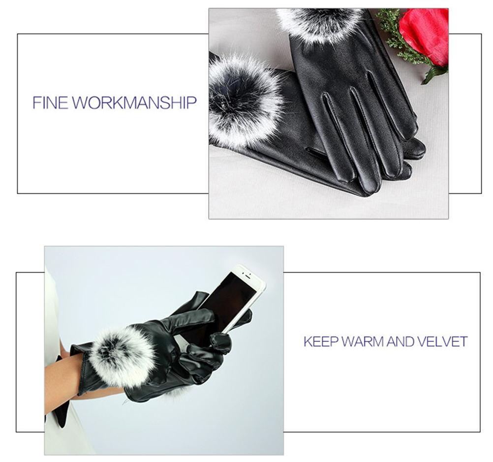 Touch screen opening hair ball gloves black 59c4be372a00e458ee098f6d