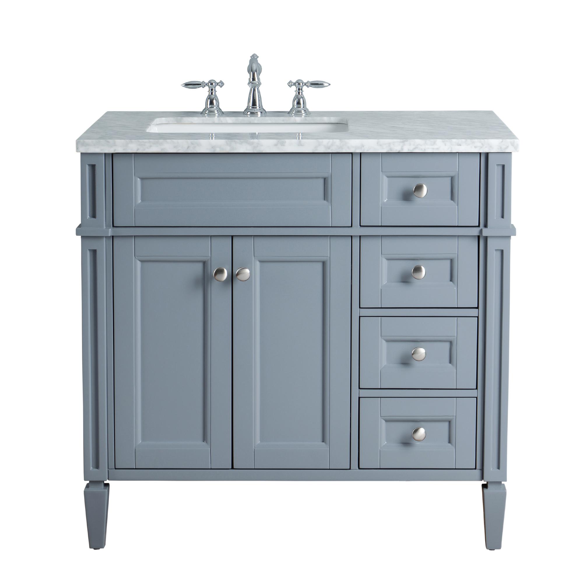 Anastasia French 36-inch Single Sink Bathroom Vanity - Grey