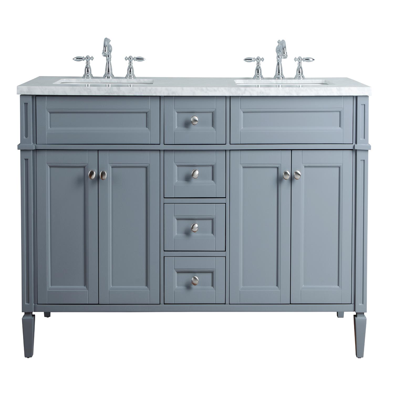 French Double Sink Bathroom Vanity Grey Anastasia
