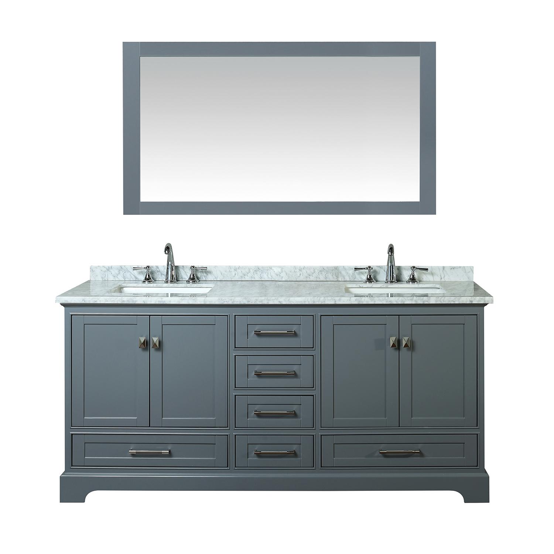 Double Sink Bathroom Vanity Mirror Grey Newport