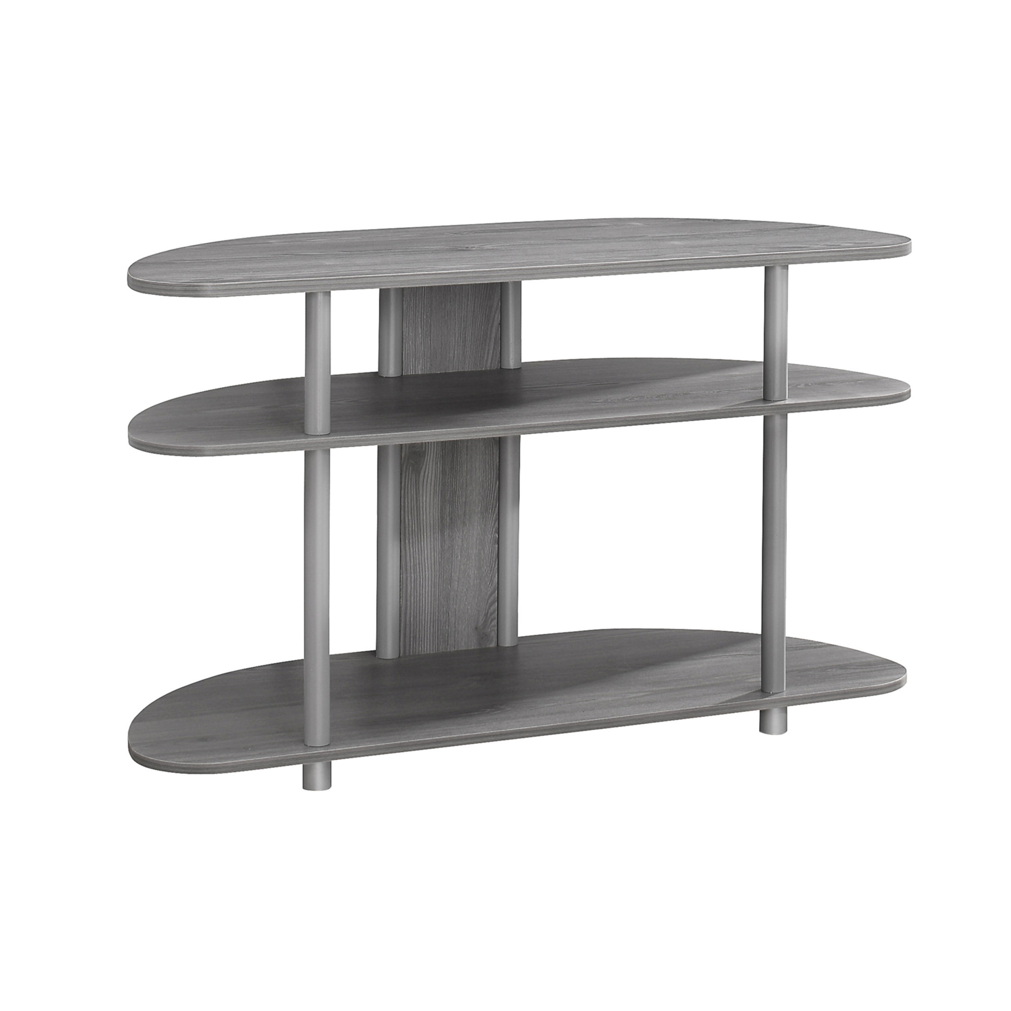 """TV Stand - 38\""""l, Grey With Silver Accent"""