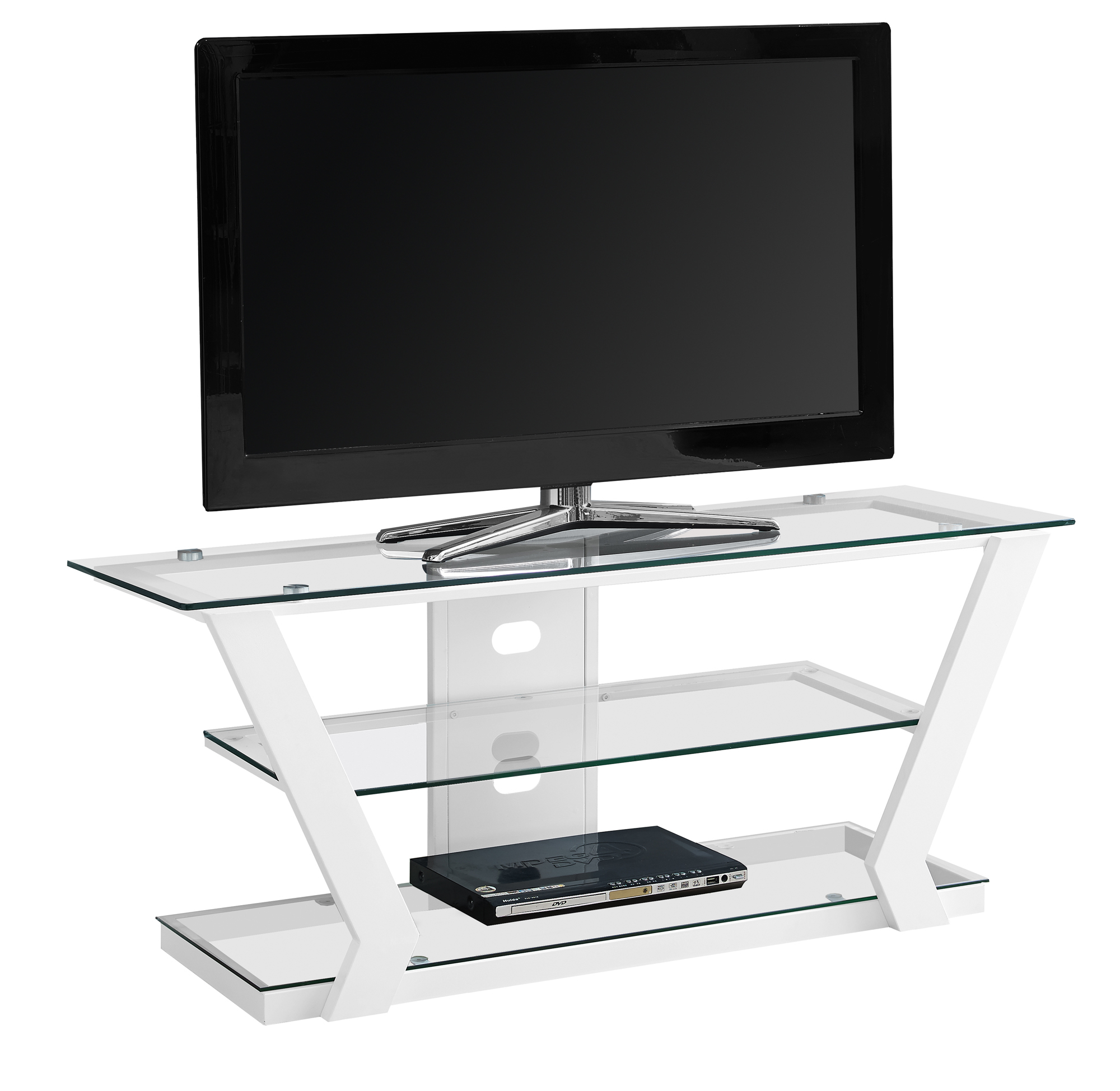 """TV Stand - 48\""""l, White Metal With Tempered Glass"""