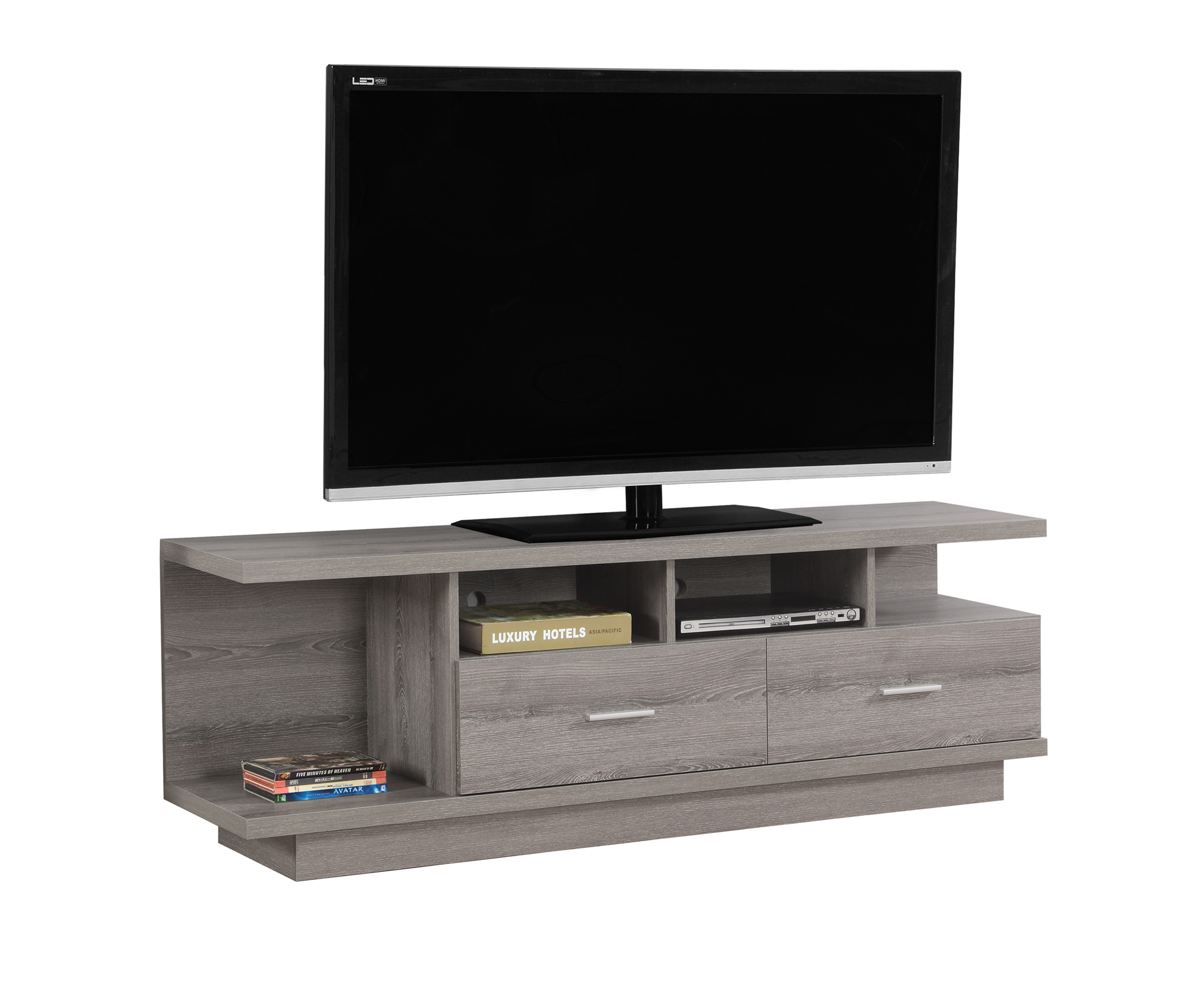 """TV Stand - 60\""""l, Dark Taupe With 2 Drawers"""