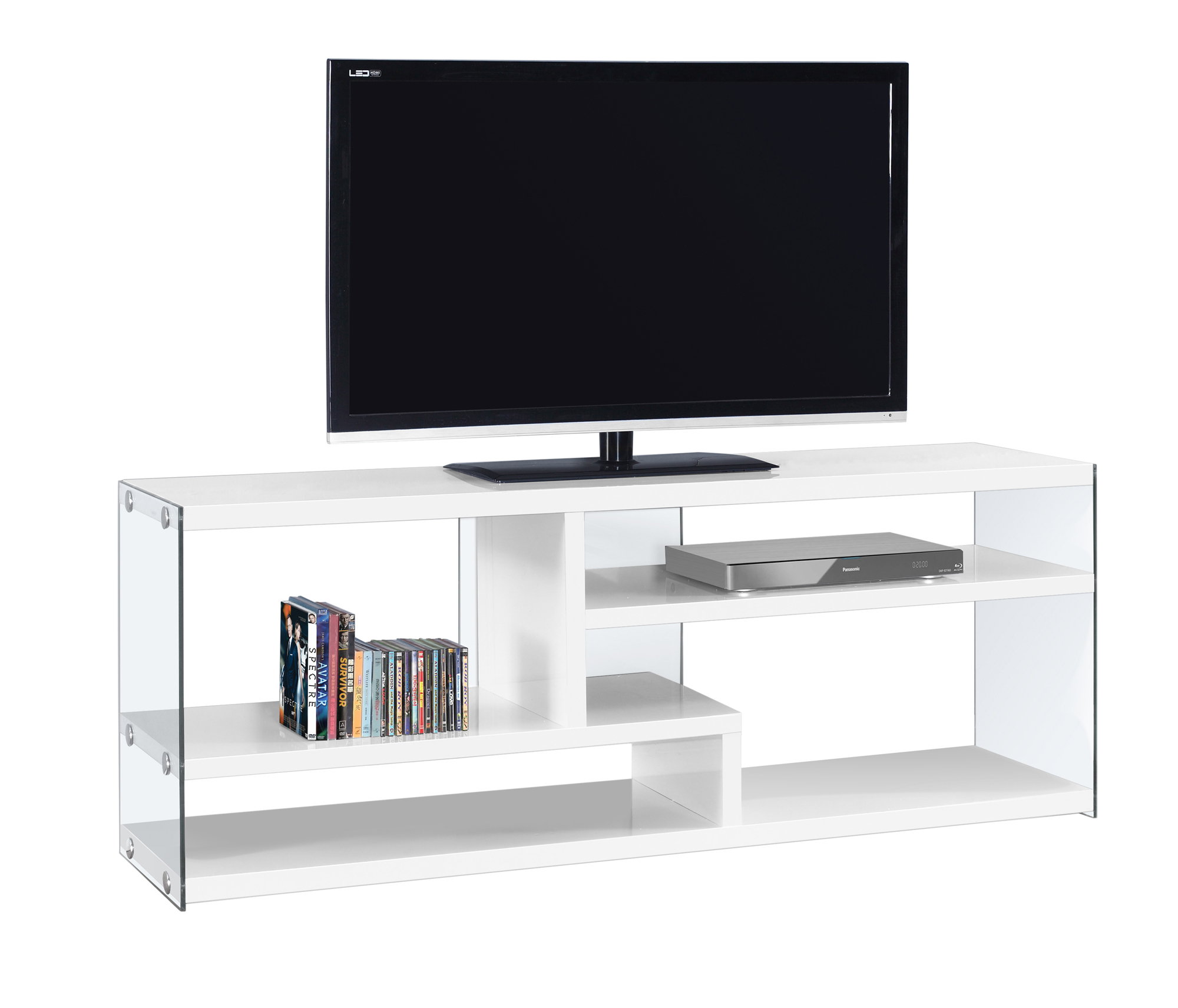 """TV Stand - 60\""""l, Glossy White With Tempered Glass"""
