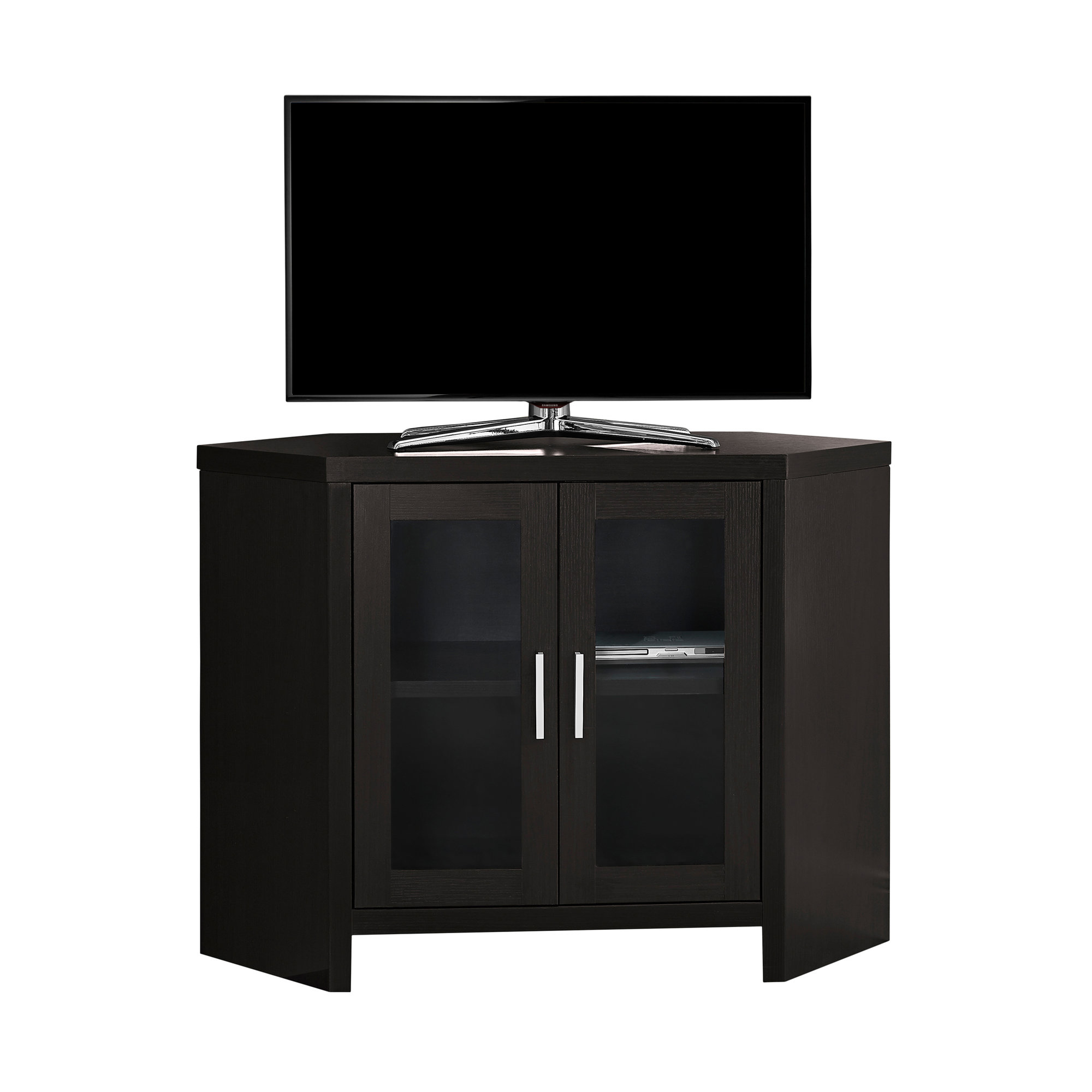 """TV Stand - 42\""""l, Cappuccino Corner With Glass Doors"""