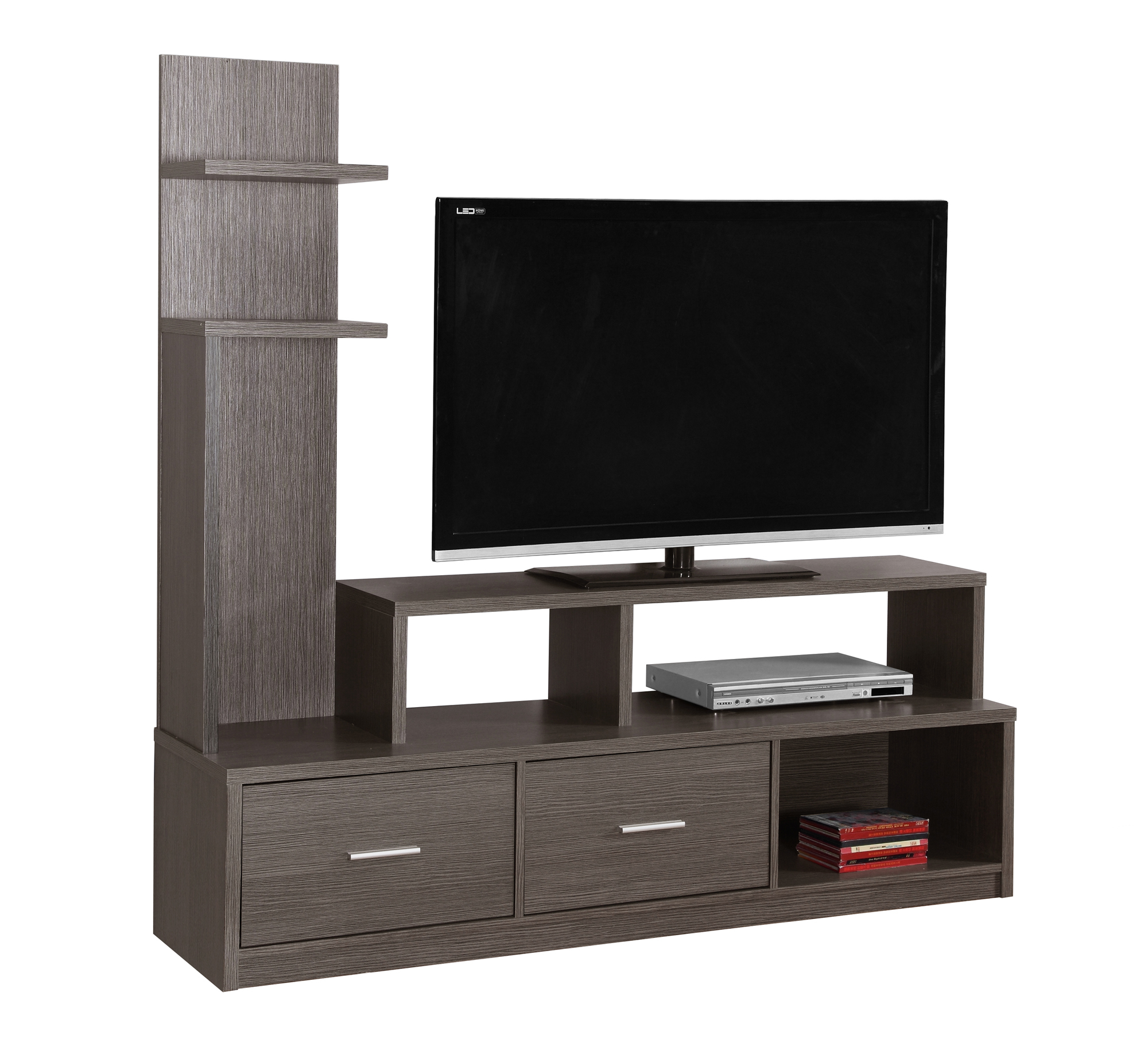 """TV Stand - 60\""""l, Grey With A Display Tower"""