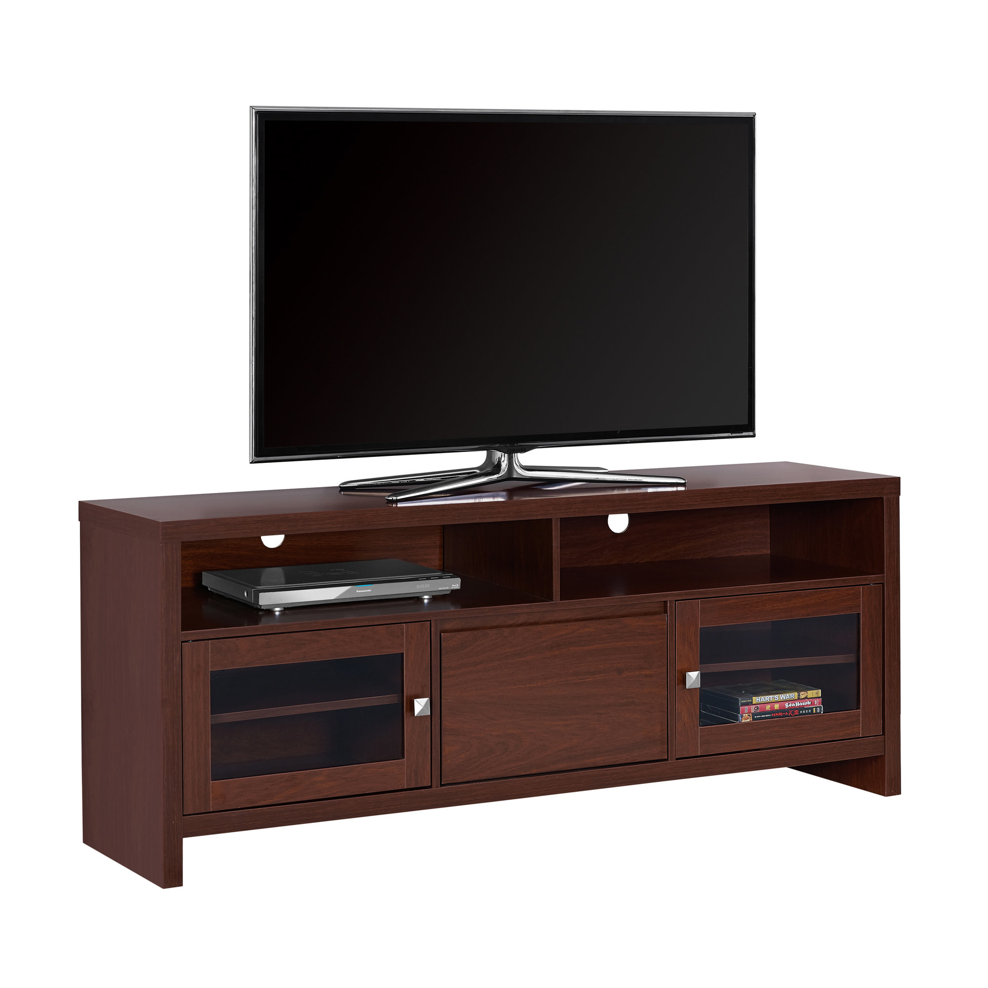"""TV Stand - 60\""""l, Warm Cherry With Glass Doors 5a54622f2a00e41a3f15c0db"""