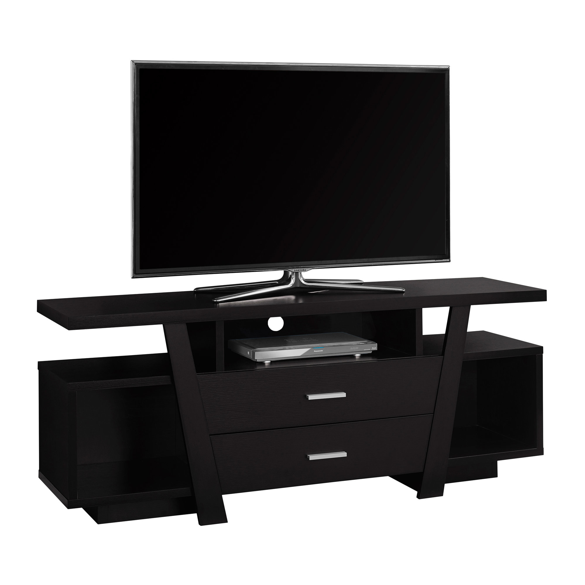 """TV Stand - 60\""""l, Cappuccino With 2 Storage Drawers"""