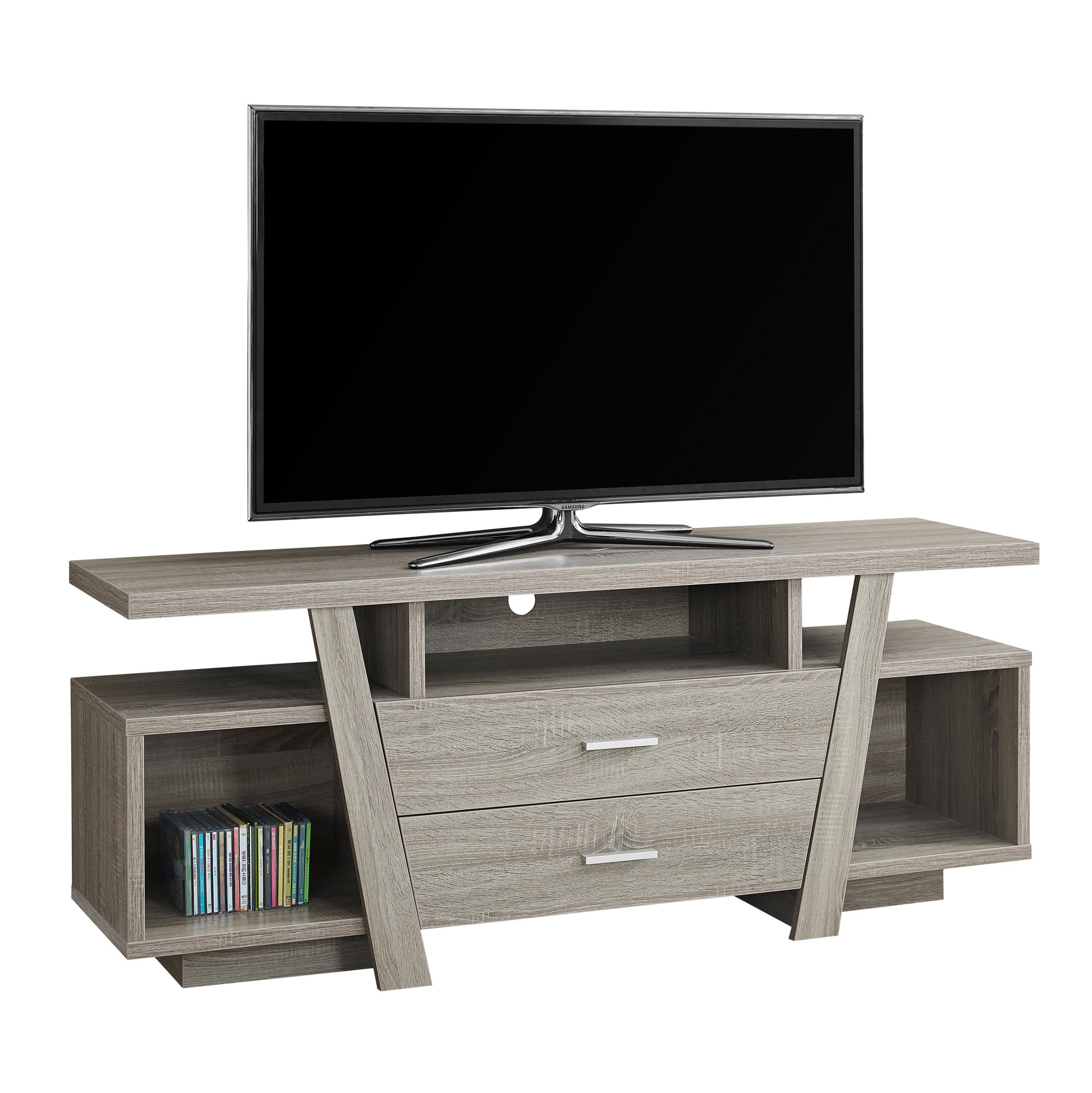 """TV Stand - 60\""""l, Dark Taupe With 2 Storage Drawers"""