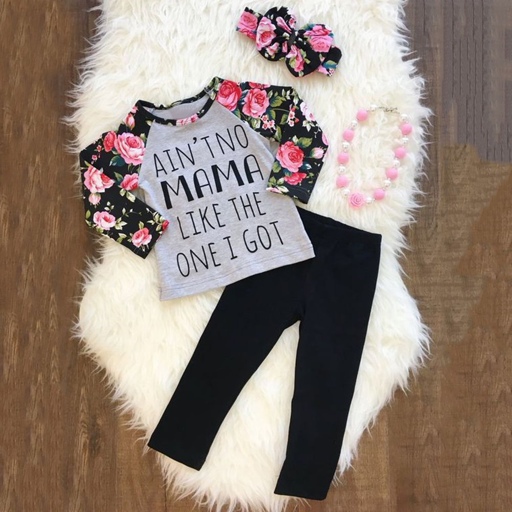 Baby Kids Girls Letters Floral Long Sleeve Autumn Pullover Pants Headband Outfit