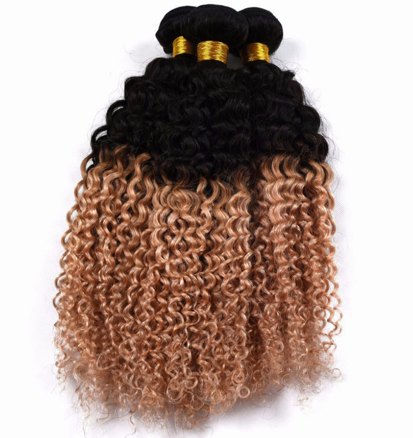 Kinky Curly Hair Weave Human Hair 1b|27 Color Bundles Malaysian Hair Extensions Non Remy Hair Natural Color 1PC 10-28inch – 10 inch
