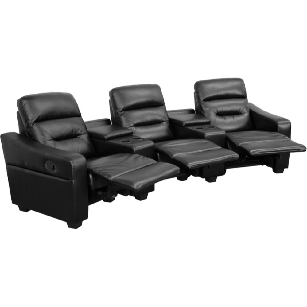 Futura Series 3-Seat Reclining Black Leather Theater Seating Unit with Cup Holders 589954dac98fc433fa238acf