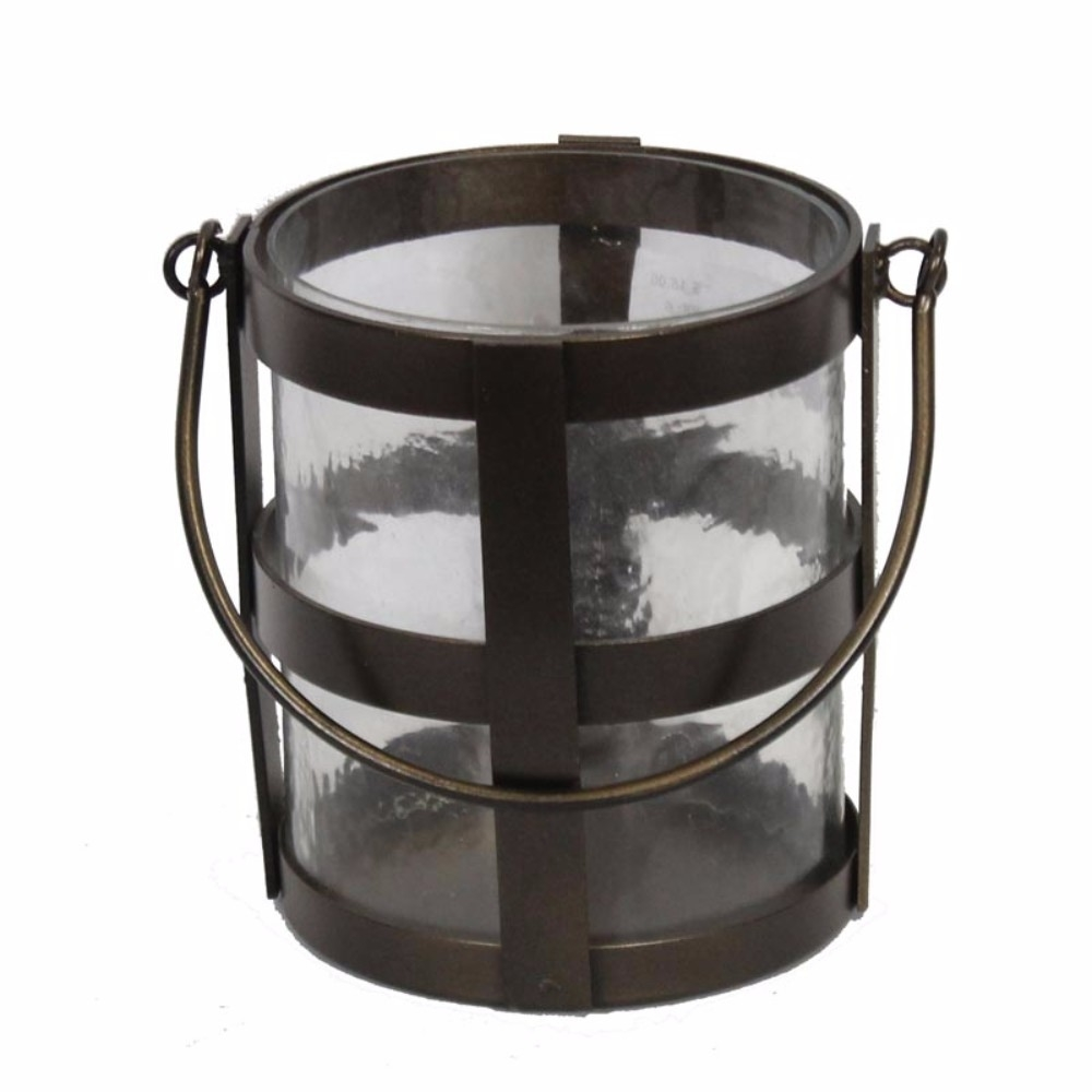 Appealing Metal/Glass Candle Holder In Bucket Style, Brown 5a670ce5e224616b320a48ce