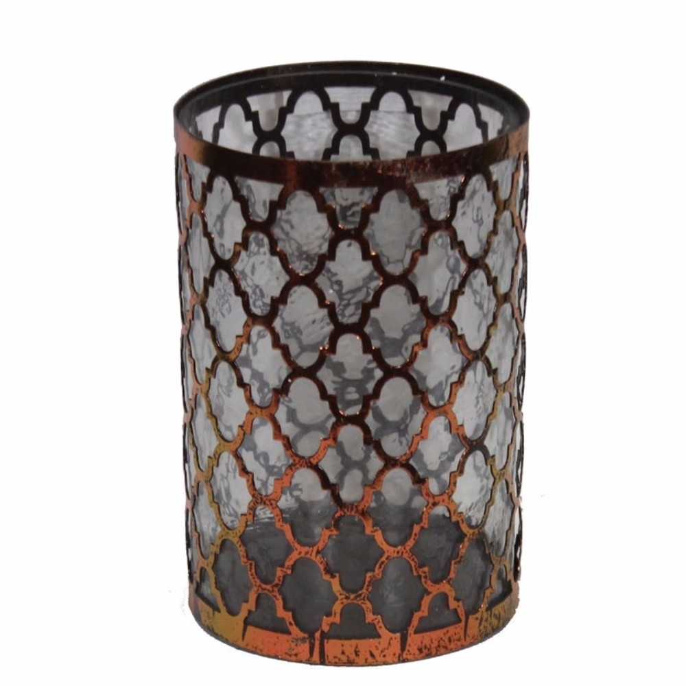 Striking Metal/Glass Candle Holder, Copper 5a670ce52a00e413b25d3ded