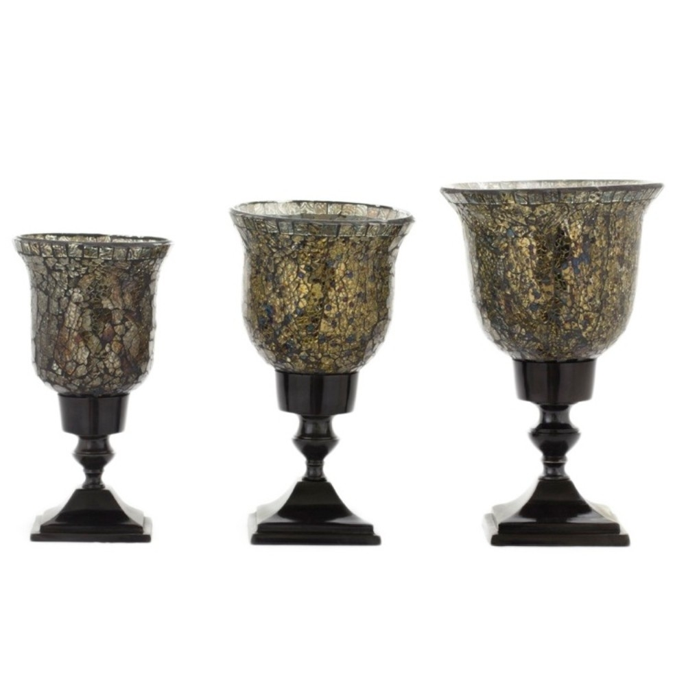 Mosaic/Metal Crackle Glass Hurricane Candle Holder, Gold And Brown, Set Of 3 5a670cebe224616b320a4a18
