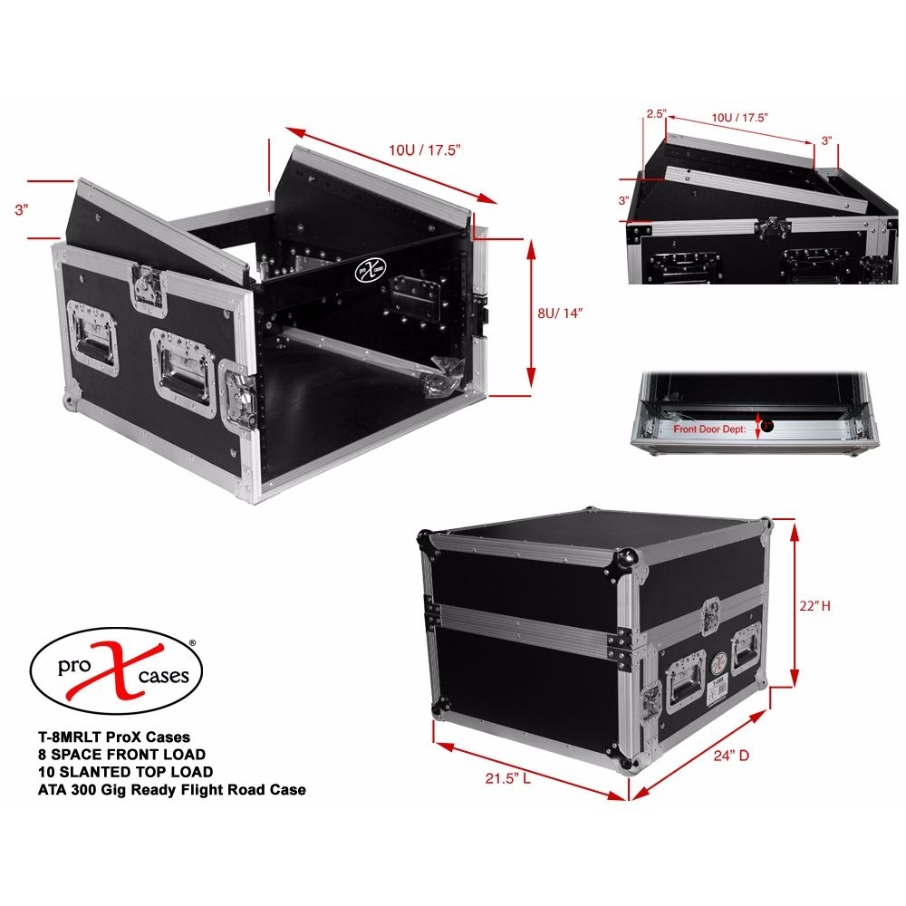 Prox8U Vertical Front Load Mixer Combo Amp Rack Case 10U Top Slant W/ Laptop Shelf 58995637c98fc41ef3344048