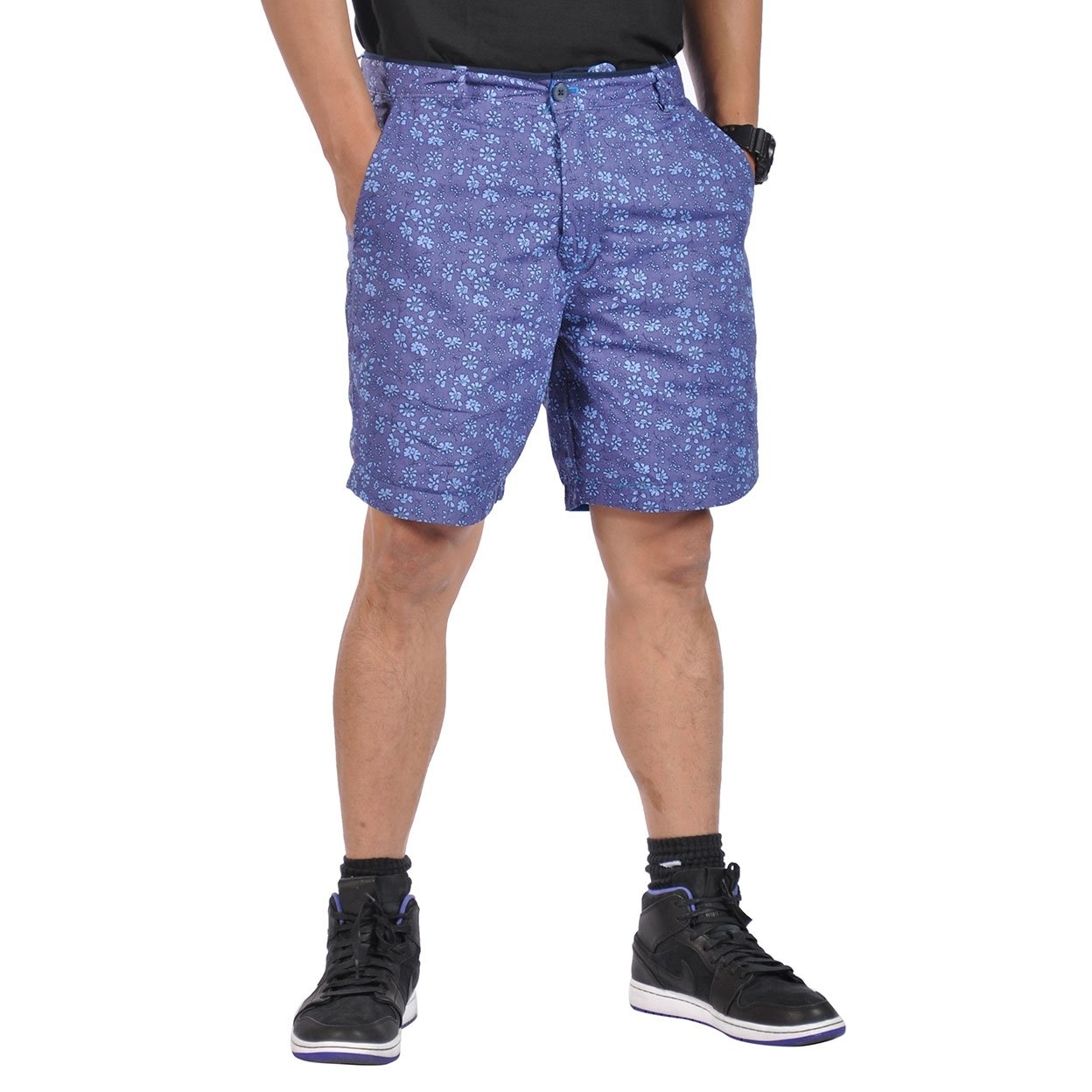 Mens All Cotton Flat Front Reversible Walking Shorts Royal Blue and Blossom Purple