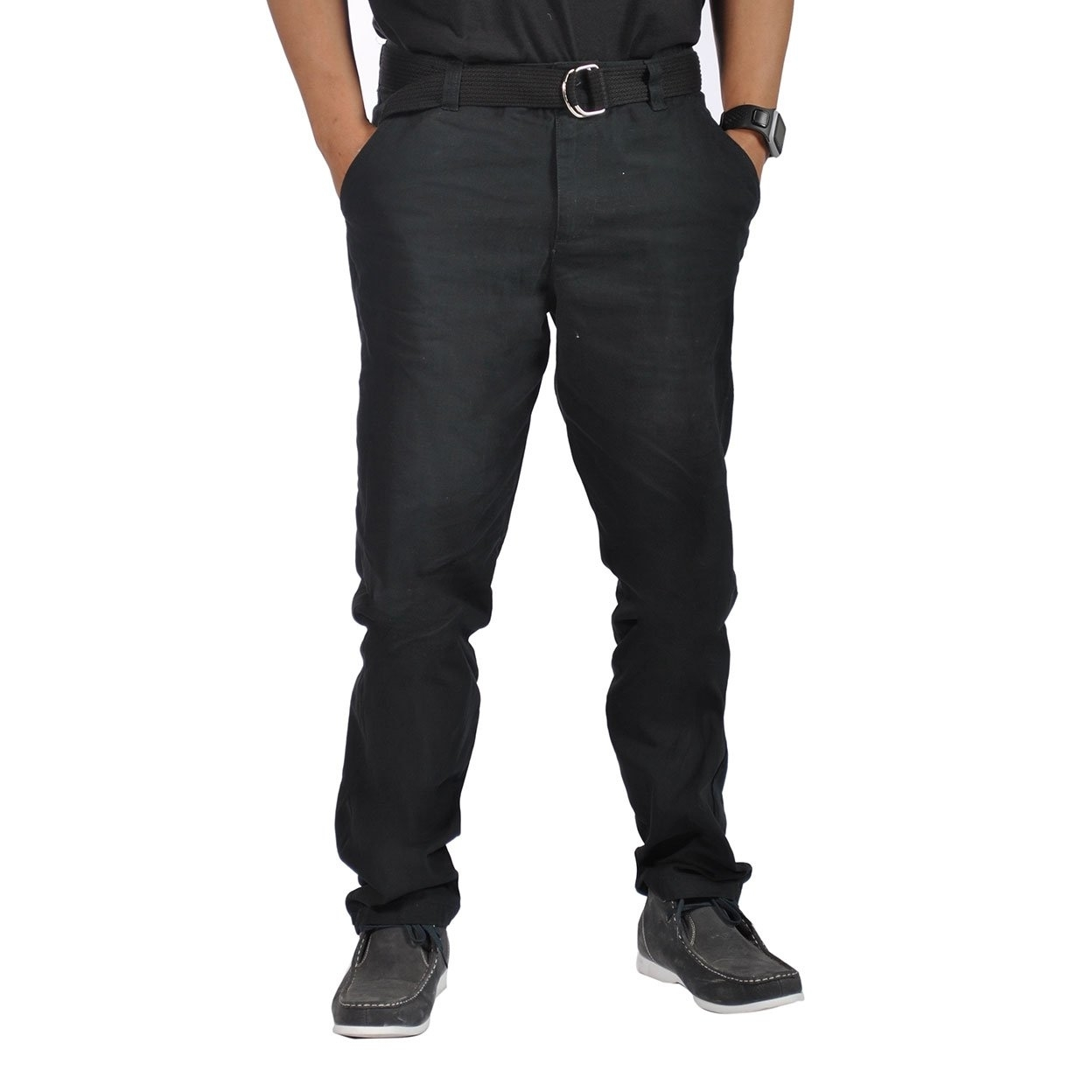 Mens Relaxed fit Double Ring Belt Casual Flat-Front Tapered Pants Black