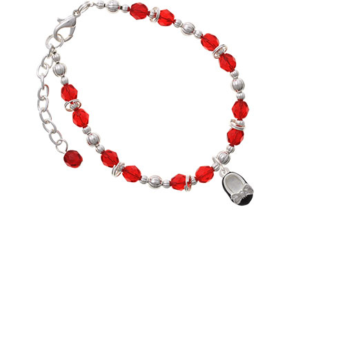 Silvertone Black Enamel Baby Shoe with Bow Red Beaded Bracelet