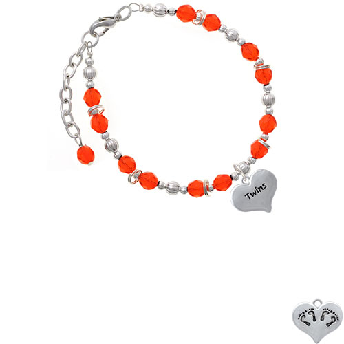 Twins Heart with Two Pair of Baby Feet Orange Beaded Bracelet