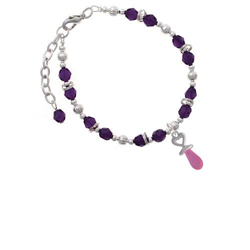 Silvertone 3-D Pink Baby Pacifier Purple Beaded Bracelet