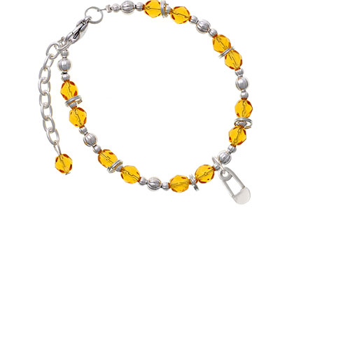 2-Sided Clear Frosted Baby Safety Pin Yellow Beaded Bracelet