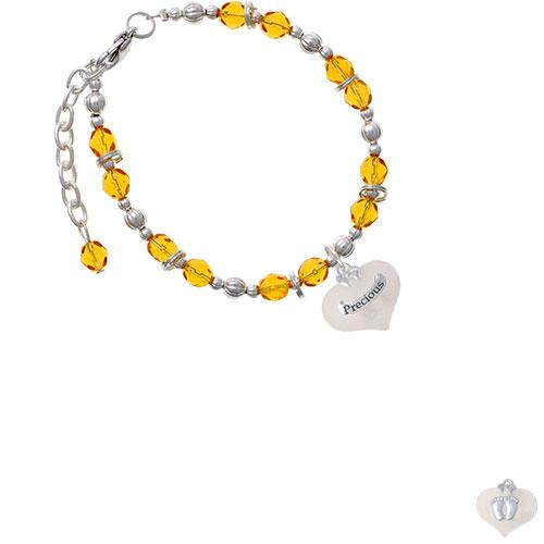 Precious White Heart with Baby Feet Yellow Beaded Bracelet