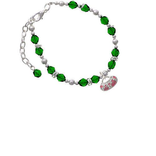 Silvertone Hot Pink Retro Purse Green Beaded Bracelet (BR-C2449-C2234) photo