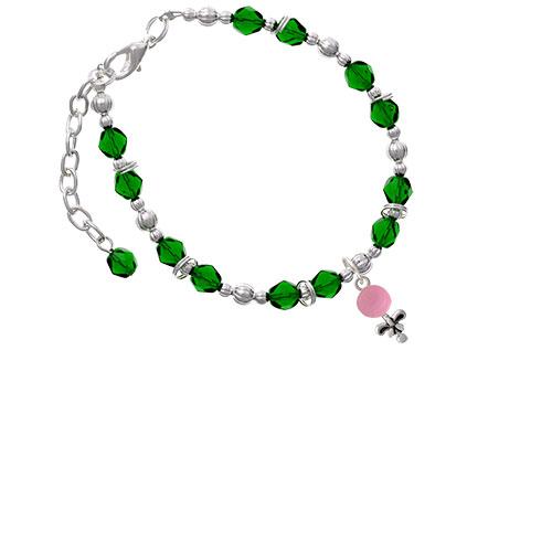Pink Baby Rattle Green Beaded Bracelet