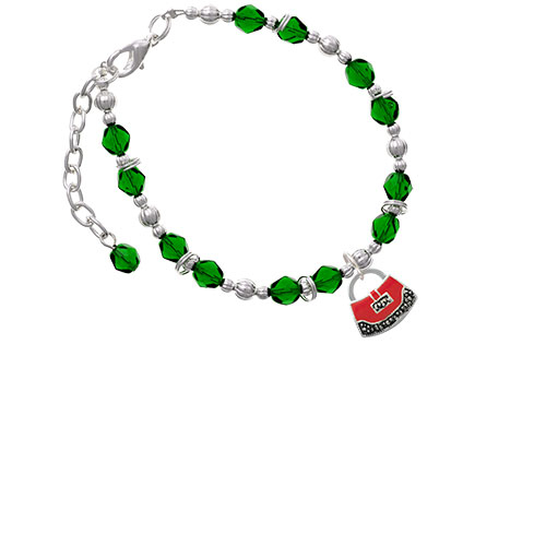 Red Purse Green Beaded Bracelet (Delight) photo