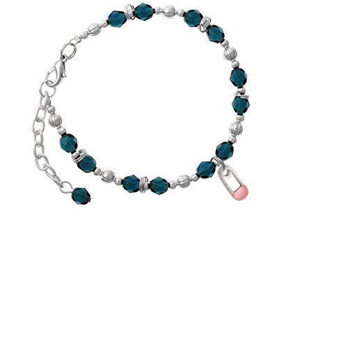 2-Sided Pink Baby Safety Pin Navy Blue Beaded Bracelet