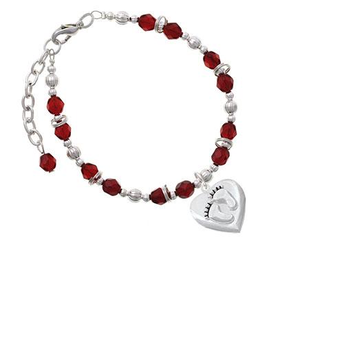 Silvertone Baby Feet Heart Locket Maroon Beaded Bracelet