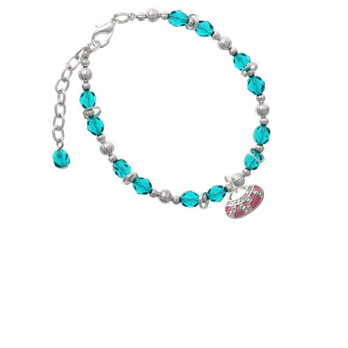 Silvertone Hot Pink Retro Purse Teal Beaded Bracelet (BR-C2449-C2238) photo