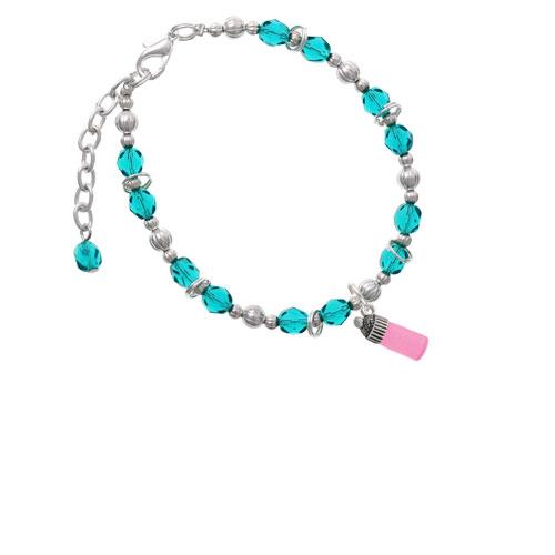 Silvertone 3-D Pink Baby Bottle Teal Beaded Bracelet