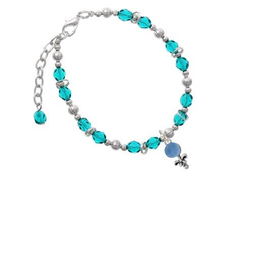 Blue Baby Rattle Teal Beaded Bracelet