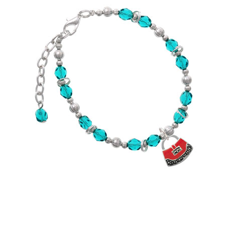 Red Purse Teal Beaded Bracelet (Delight) photo