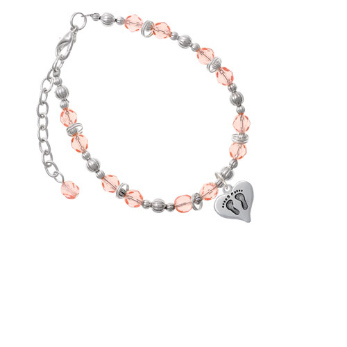 Heart with Baby Feet Pink Beaded Bracelet