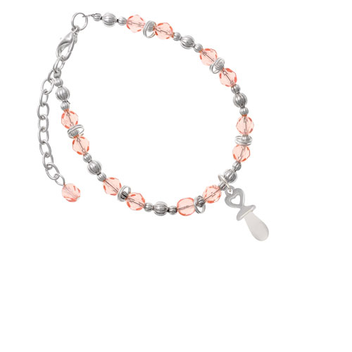 Silvertone 3-D Clear Frosted Baby Pacifier Pink Beaded Bracelet
