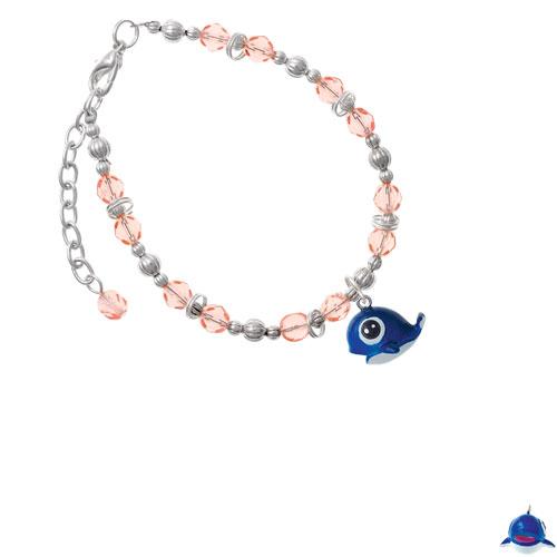 Resin Blue Baby Whale Pink Beaded Bracelet