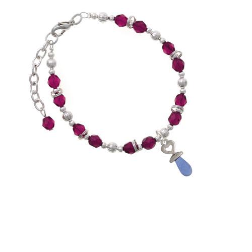 Silvertone 3-D Blue Baby Pacifier Magenta Beaded Bracelet