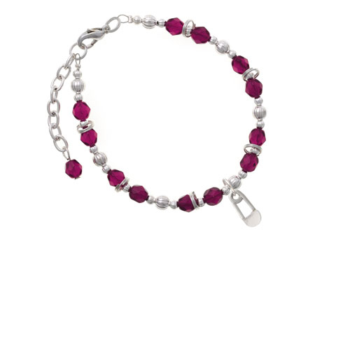 2-Sided Clear Frosted Baby Safety Pin Magenta Beaded Bracelet