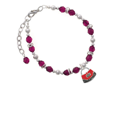 Red Purse Magenta Beaded Bracelet (Delight) photo