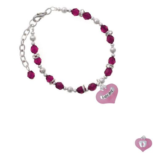 Baby Girl Pink Heart with Baby Feet Magenta Beaded Bracelet