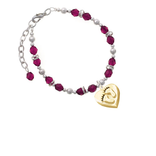 Goldtone Baby Feet Heart Locket Magenta Beaded Bracelet